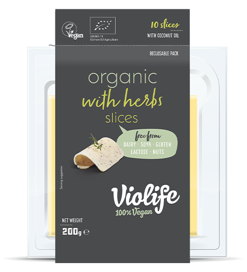 Organic with herbs slices