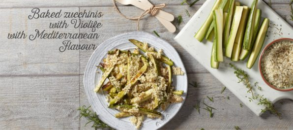Baked zucchinis with Violife with Mediterranean Flavour
