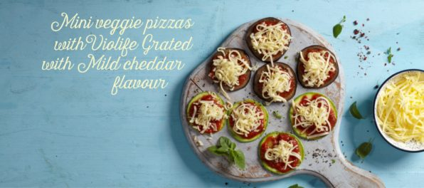 Mini veggie pizzas with Violife Grated with Mild cheddar (or Original) flavour