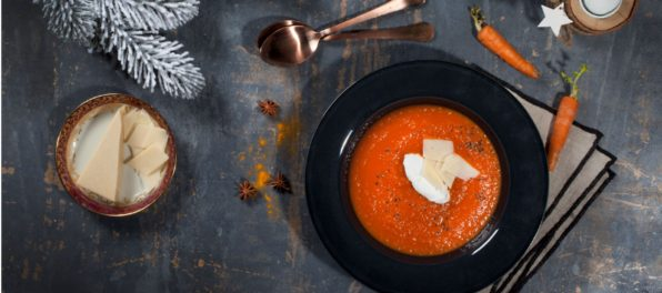 Wholesome ginger carrot soup with Violife creamy with gorgonzola flavour and Violife prosociano