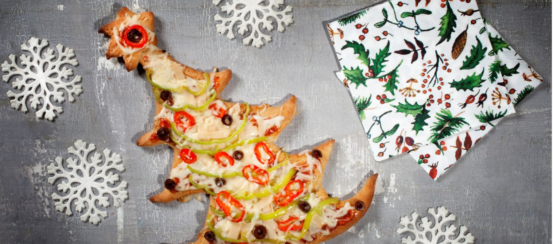 The perfect Christmas tree pizza with Violife grated with mozzarella flavour