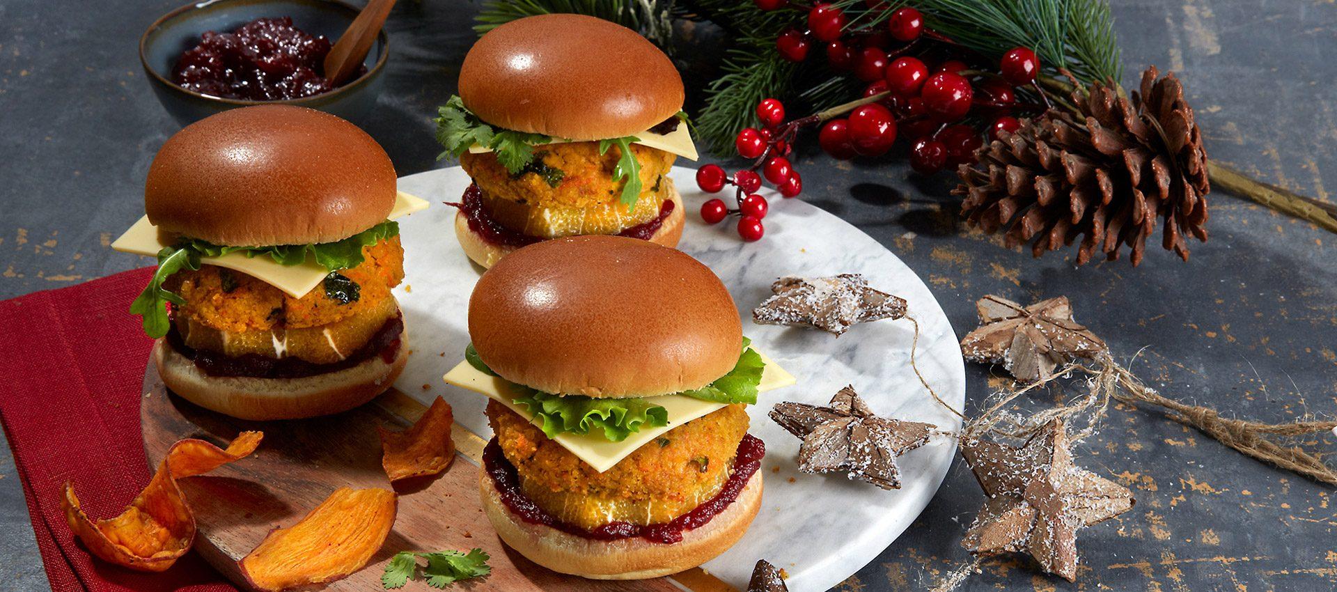 Christmas Lentil Burgers with Violife Slices Original
